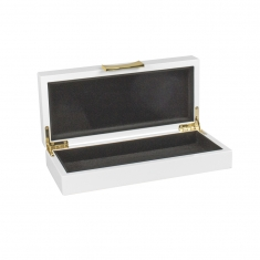 White lacquered wooden jewellery box with gold-coloured metal trim