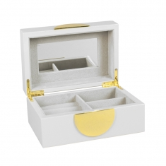 White lacquered wooden jewellery box with gold trim, mirror