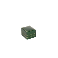 Dark green man-made leatherette covered jewellery presentation boxes with gold edging