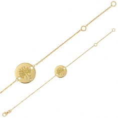 18ct gold bracelet featuring tree of life motif on round medallion with 0.01ct diamond