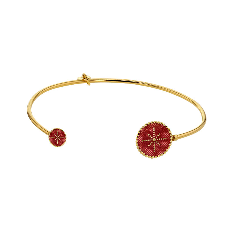 Bangle in gold-coloured sterling silver, open with pink enamel disc ends and star motifs