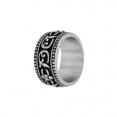 Broad black steel ring for Him with contrasting foliage motifs