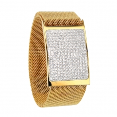 Broad gold-coloured steel milanese bracelet with crystal encrusted plaque and magnetic clasp