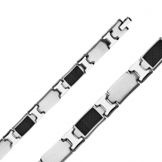Carbon fibre and steel link bracelet 200mm