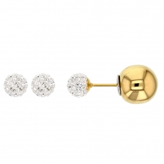 Double-ended gold steel stud earrings, crystal encrusted bead 6mm and gold steel ball 10mm