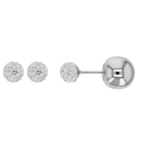Double-ended steel earrings, one crystal encrusted bead 6mm and one shiny steel ball 10mm