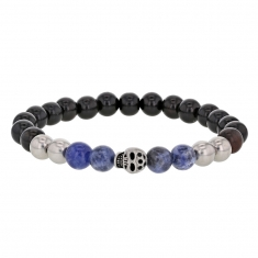 Elasticated bracelet with steel, ebony and natural blue stone beads and central skull feature