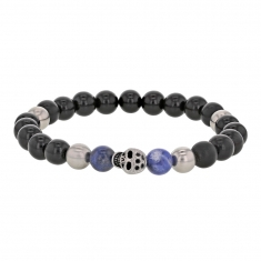 Elasticated skull bracelet with beads of steel, ebony, natural blue stones