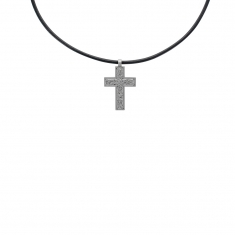 Genuine leather cord necklace with stainless steel crucifix