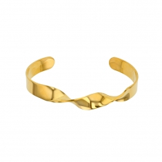 Gold coloured steel bangle with central twist