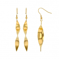 Gold coloured steel twisted drop earrings on hook wires