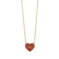 Gold-coloured sterling silver necklace with pink enamel heart motif