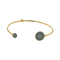 Gold-coloured sterling silver open bangle with black enamel beaded disc ends