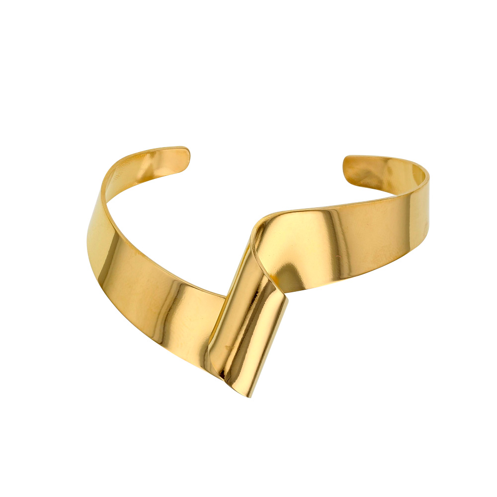 Gold coloured twisted steel bangle