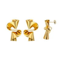 Gold coloured twisted steel earrings
