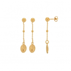 GYPSY MARIA gold-coloured sterling silver Miraculous Medal drop earrings