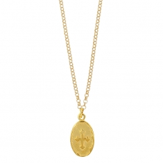 GYPSY MARIA gold-coloured sterling silver necklace with oval medal featuring Templars cross