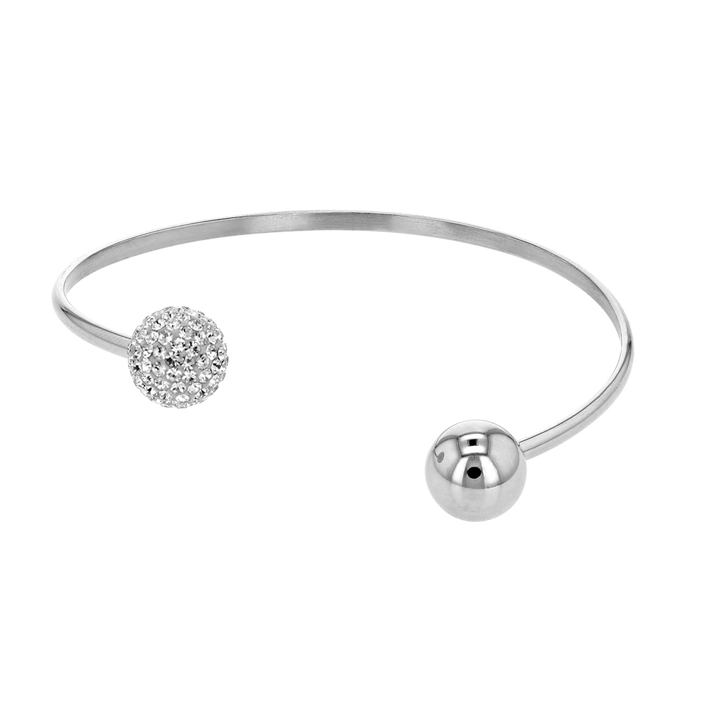 Open flexible steel bangle with one crystal covered bead end and one plain bead end