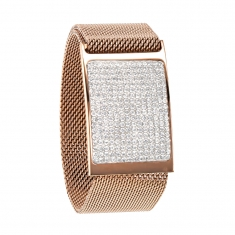 Rose-gold coloured milanese bracelet with plaque covered in crystals - magnetic clasp
