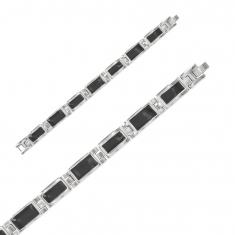 Stainless steel and black enamel link bracelet 190mm
