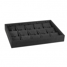 Black, luxury man-made suedette display tray for 15 pairs of earrings