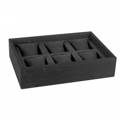 Black, luxury man-made suedette display tray with pillows for 6 bracets or watches