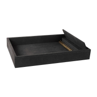 Black suedette finish luxury display tray for 18 necklaces or chains