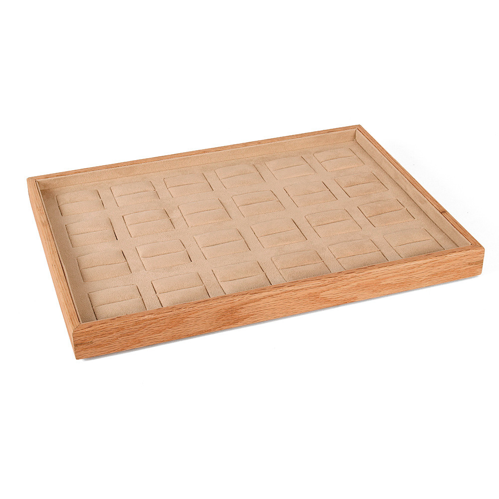 Large MDF presentation tray for 24 rings lined with beige man-made suedette