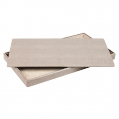 Lid for display tray - taupe lizard skin finish exterior