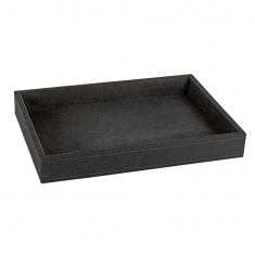 Luxury display tray for 30 rings in man-made black suedette