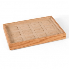 MDF presentation tray for 12 rings with man-made beige suedette lining