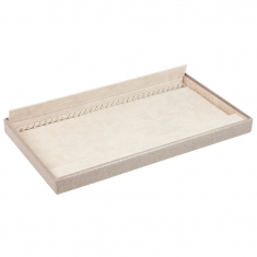 Taupe display tray for 32 bracelets or chains, man-made exterior and lining