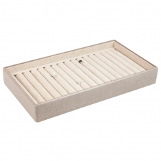Taupe ring display presentation tray with 16 ring rolls