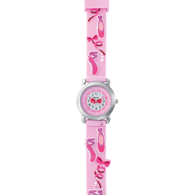 Ballet shoes theme children's watch with metal case and silicone strap