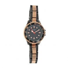 Black and rose-gold metal ladies\' watch with deployment clasp
