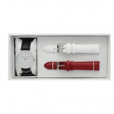 Boxed Lutetia watch set, metal case, white dial, interchangeable black, bordeaux and white straps