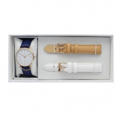 Boxed Lutetia watch set, rose-gold metal case, interchangeable navy, beige and white straps