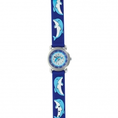 Dolphin theme children\\\'s watch with metal case and blue silicon strap