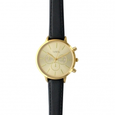 Gold-coloured metal Lutetia watch with decorative chrono dials, black man-made strap