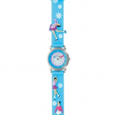 Ice skating theme children\\\'s watch with metal case and blue silicon strap with snowflakes
