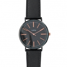 Lutetia watch with black metal case and dial, black calf skin bracelet