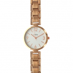 Lutetia watch with rose-gold coloured metal case and strap set with synthetic stones, white dial