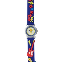 Rock guitar theme children\\\'s watch with metal case and navy silicon strap