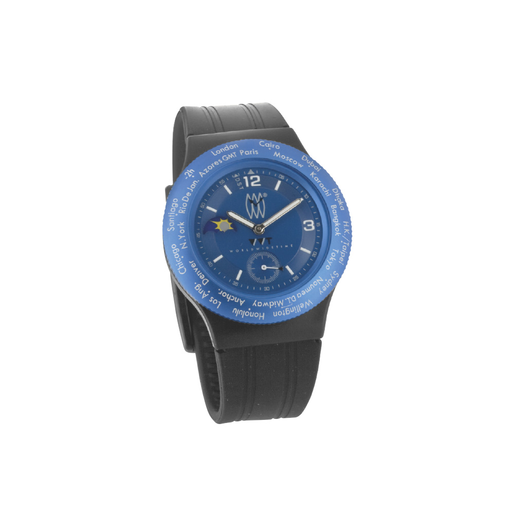 WWT watch with blue dial and black rubber strap