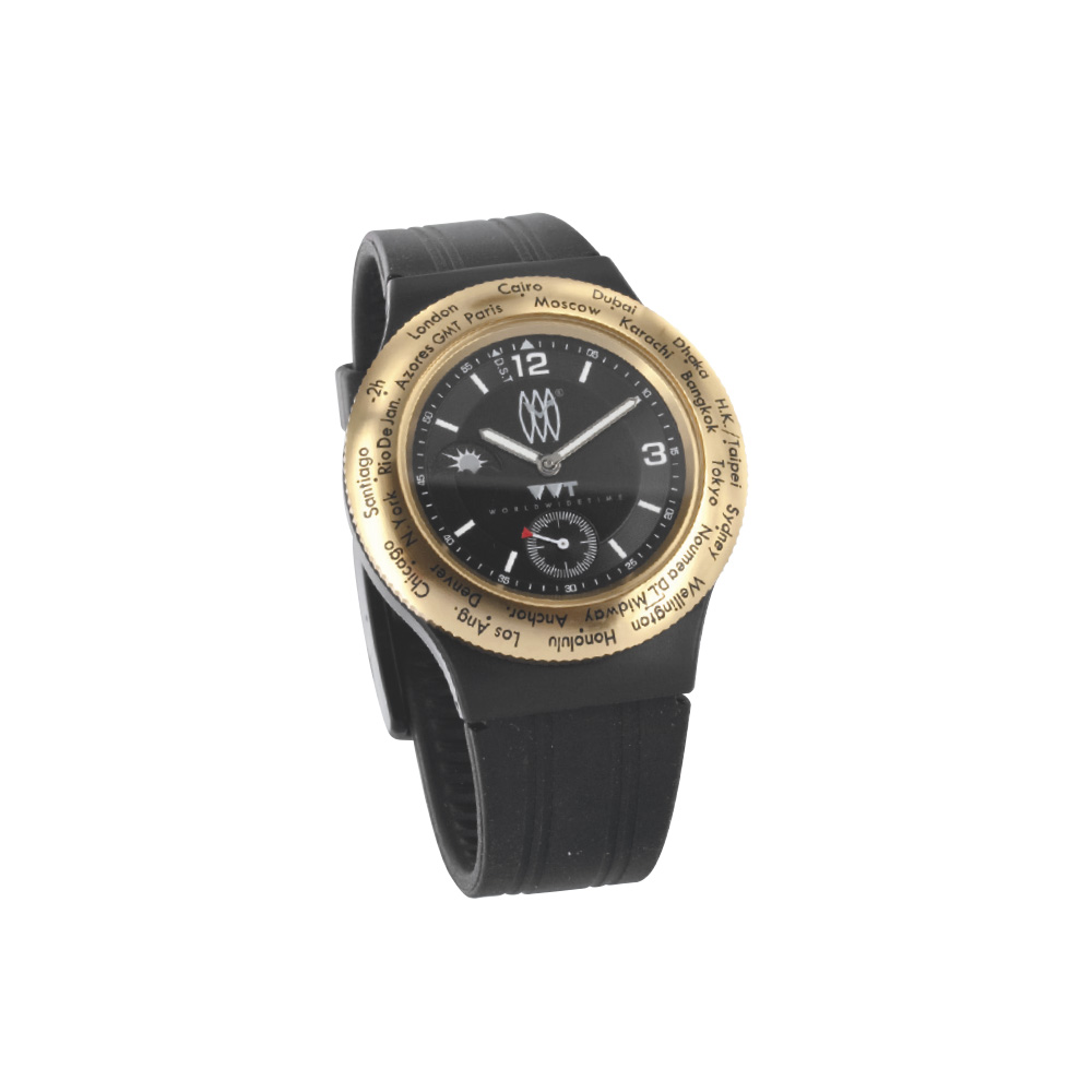 WWT watch with gold-coloured case, black dial and rubber strap