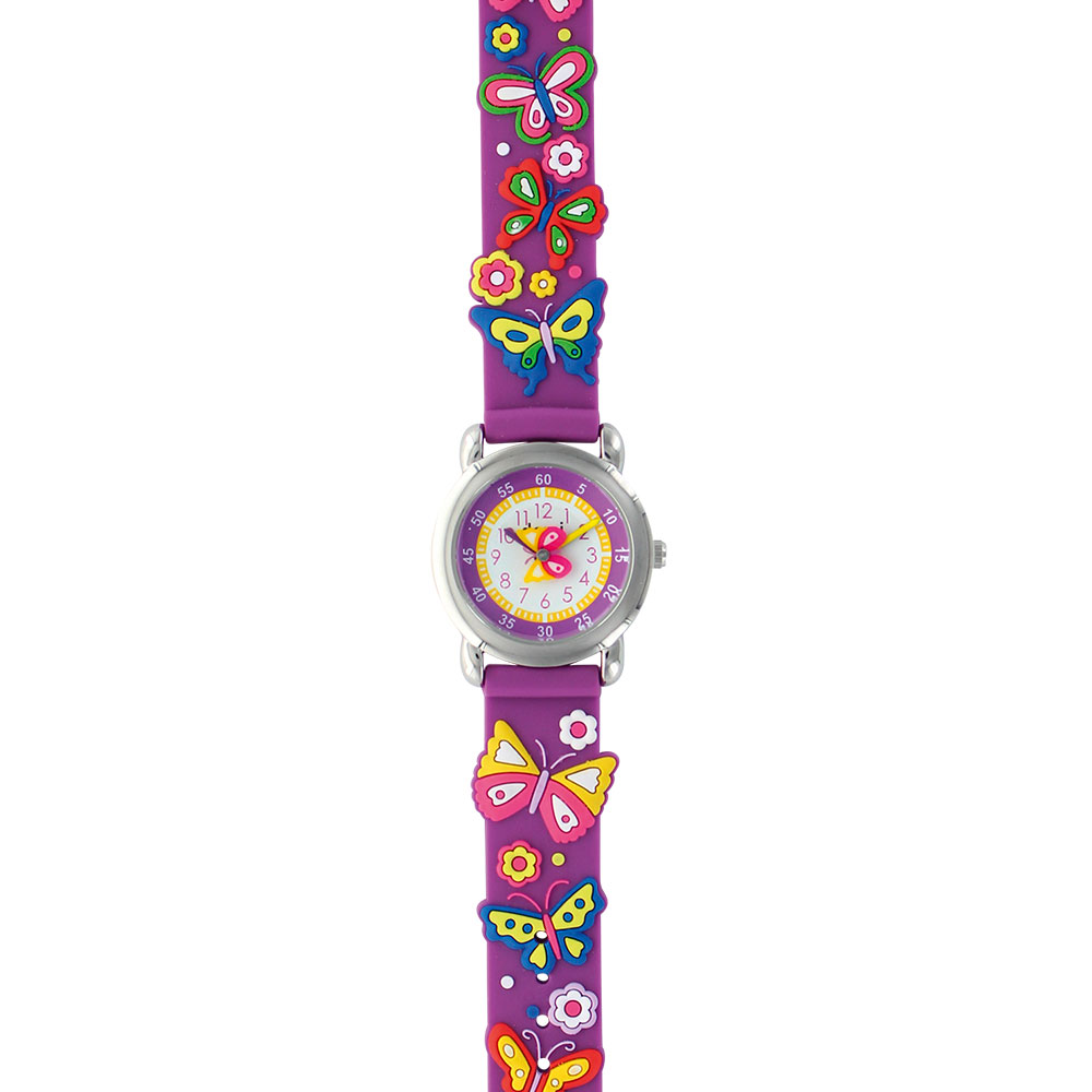 Butterfly theme children's watch with metal case and purple silicon strap