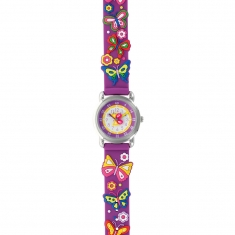 Butterfly theme children\'s watch with metal case and purple silicon strap