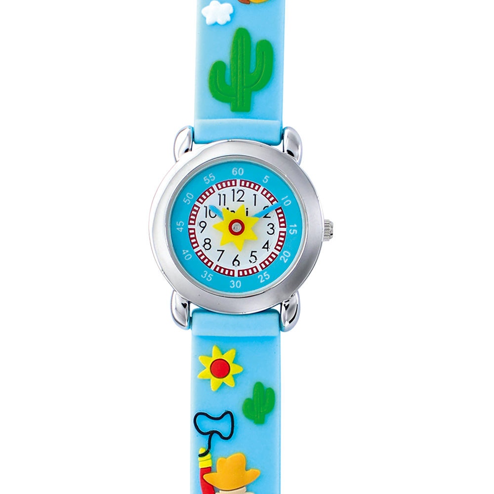 Cow boy theme, blue children's watch with metal case and silicone strap