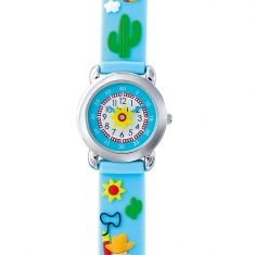 Cow boy theme, blue children\'s watch with metal case and silicone strap