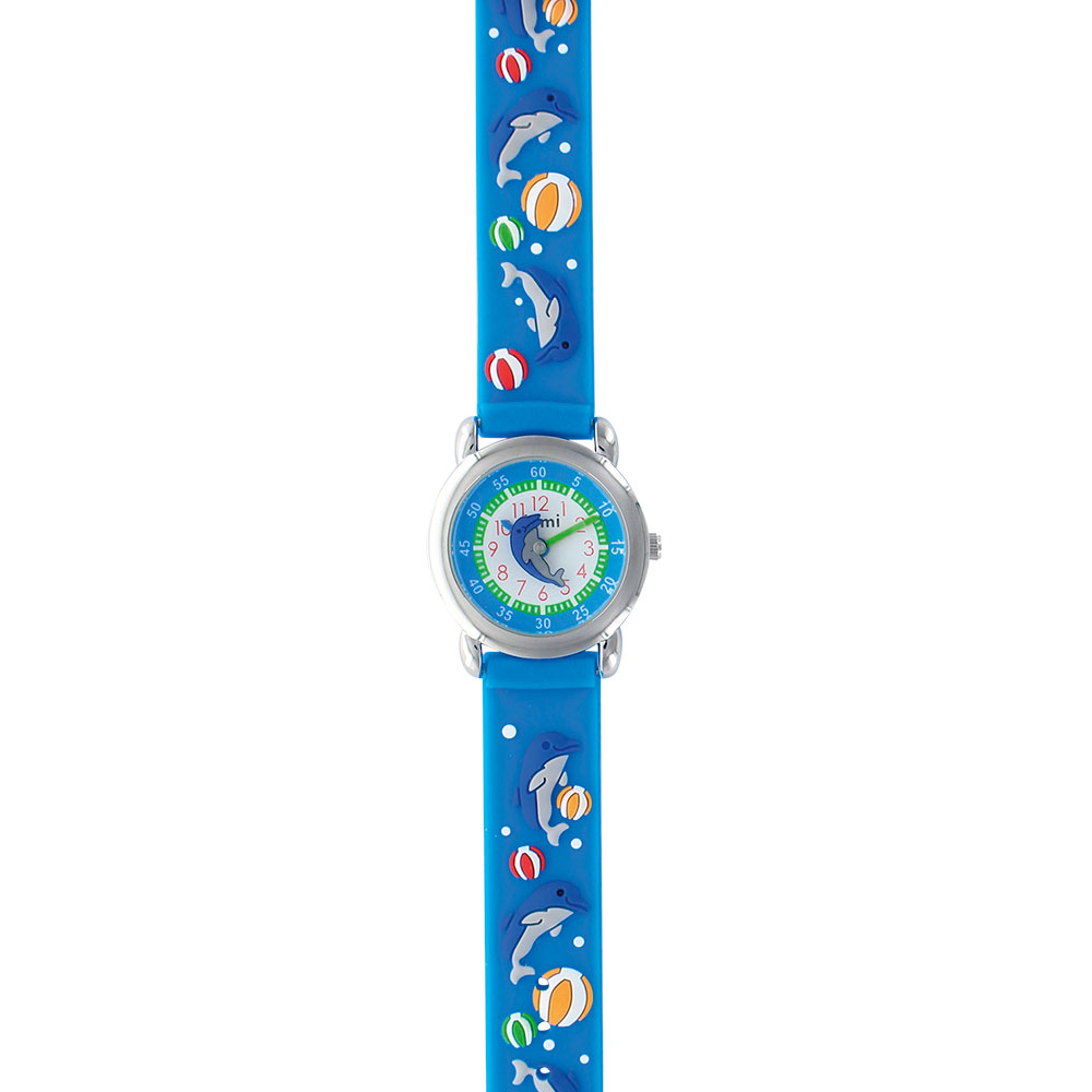 Dolphin and beachball theme children's watch with metal case and silicon strap